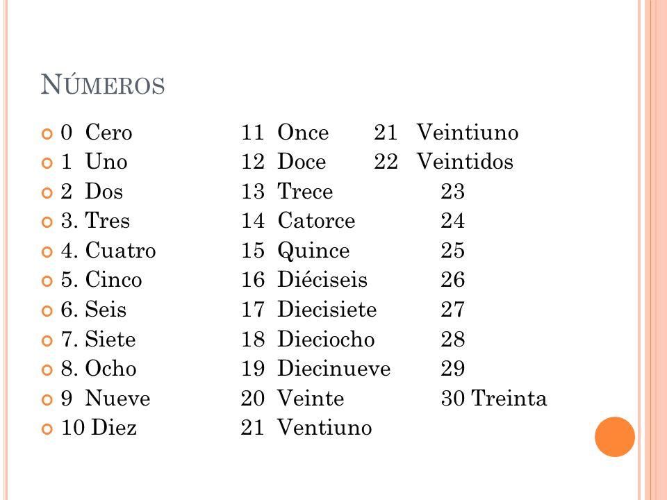 N ÚMEROS 0 Cero11 Once21 Veintiuno 1 Uno12 Doce22 Veintidos 2 Dos13 Trece23 3.