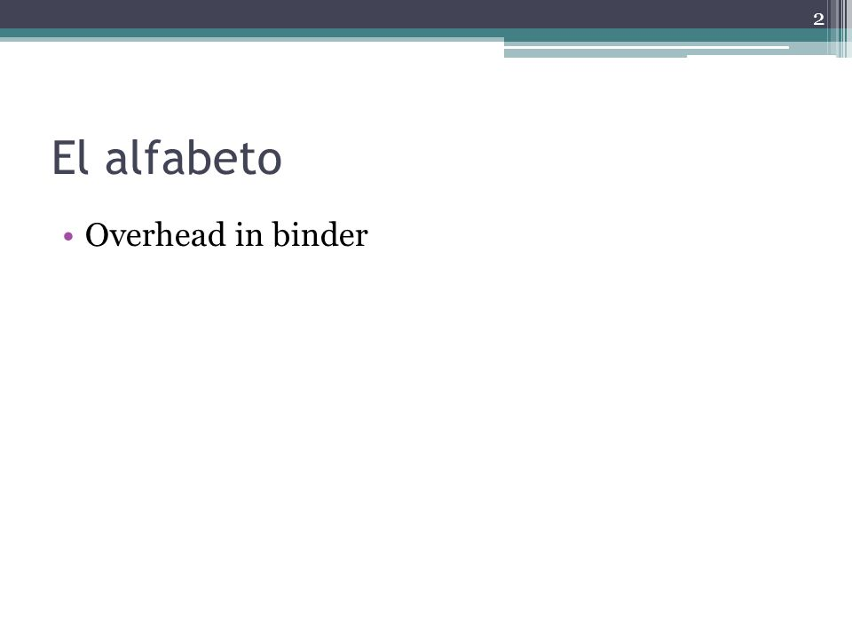 El alfabeto Overhead in binder 2