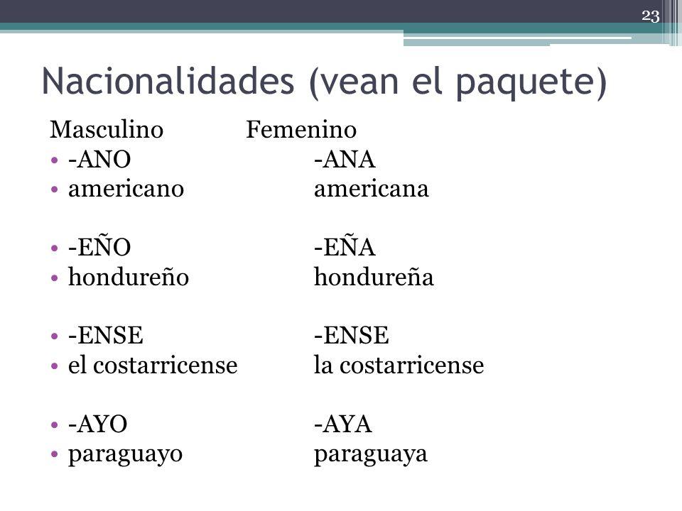 Nacionalidades (vean el paquete) MasculinoFemenino -ANO-ANA americanoamericana -EÑO-EÑA hondureñohondureña -ENSE-ENSE el costarricensela costarricense -AYO-AYA paraguayoparaguaya 23