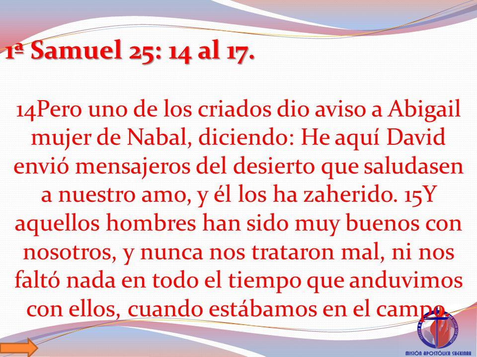 1ª Samuel 25: 14 al 17.