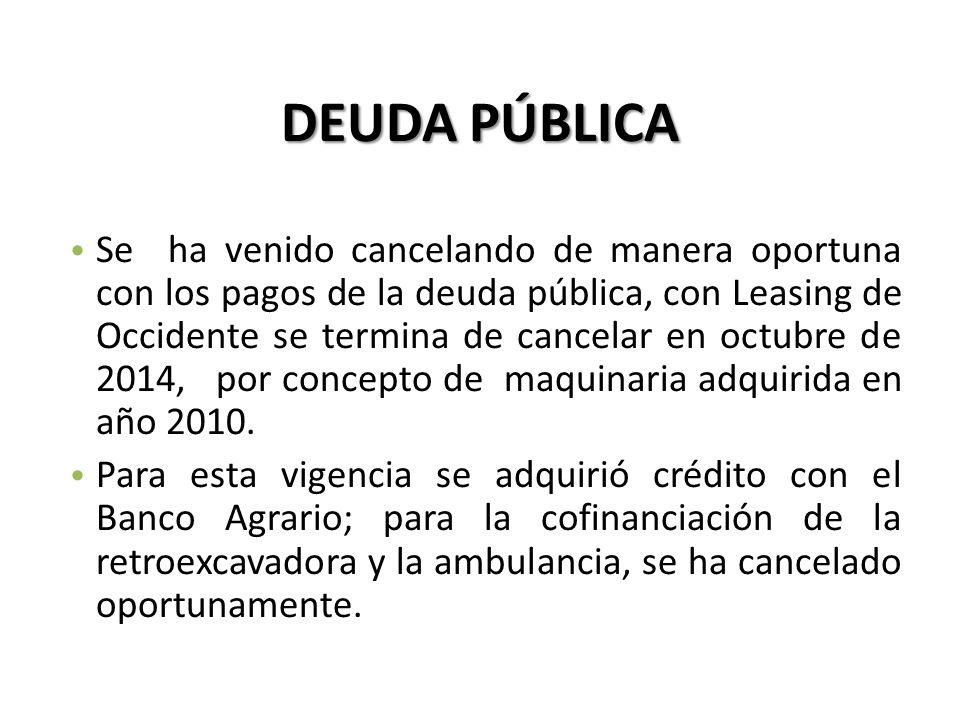 DEUDA PÚBLICA Se ha venido cancelando de manera oportuna con los pagos de la deuda pública, con Leasing de Occidente se termina de cancelar en octubre de 2014, por concepto de maquinaria adquirida en año 2010.