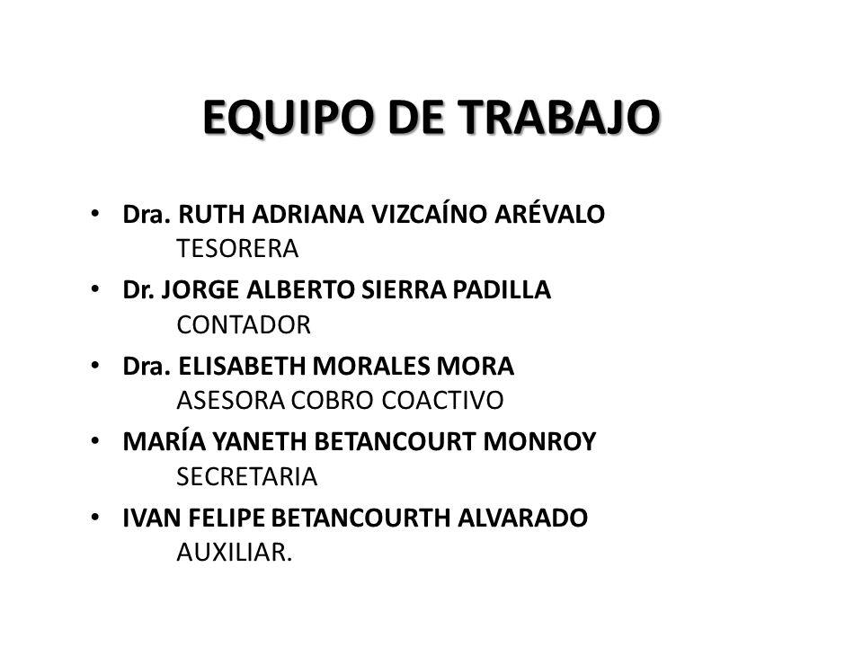 EQUIPO DE TRABAJO Dra. RUTH ADRIANA VIZCAÍNO ARÉVALO TESORERA Dr.