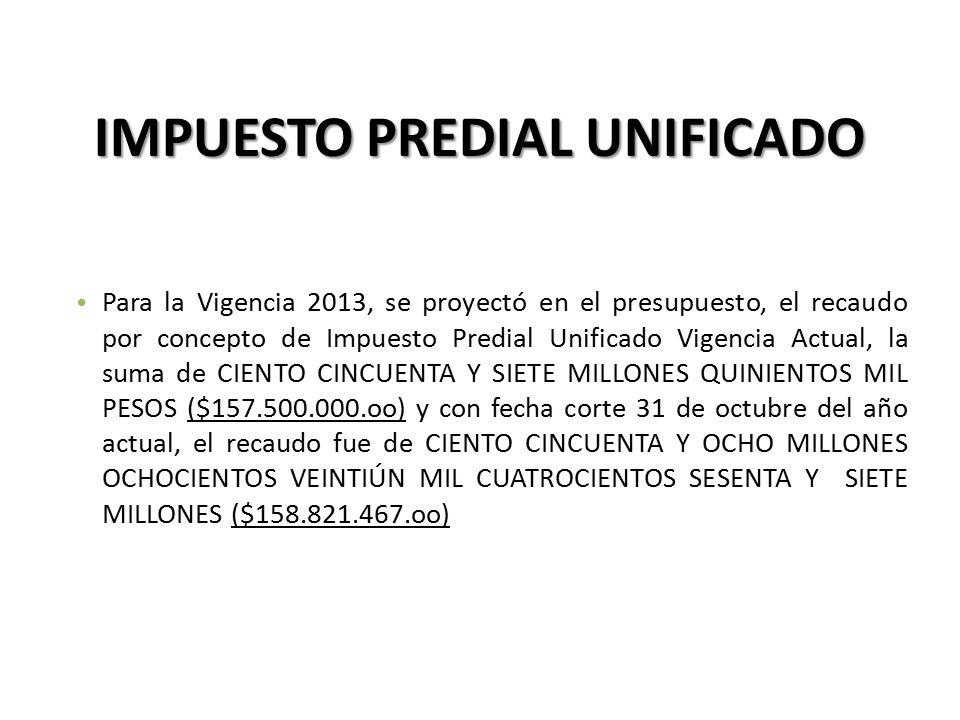 Para la Vigencia 2013, se proyectó en el presupuesto, el recaudo por concepto de Impuesto Predial Unificado Vigencia Actual, la suma de CIENTO CINCUENTA Y SIETE MILLONES QUINIENTOS MIL PESOS ($157.500.000.oo) y con fecha corte 31 de octubre del año actual, el recaudo fue de CIENTO CINCUENTA Y OCHO MILLONES OCHOCIENTOS VEINTIÚN MIL CUATROCIENTOS SESENTA Y SIETE MILLONES ($158.821.467.oo) IMPUESTO PREDIAL UNIFICADO