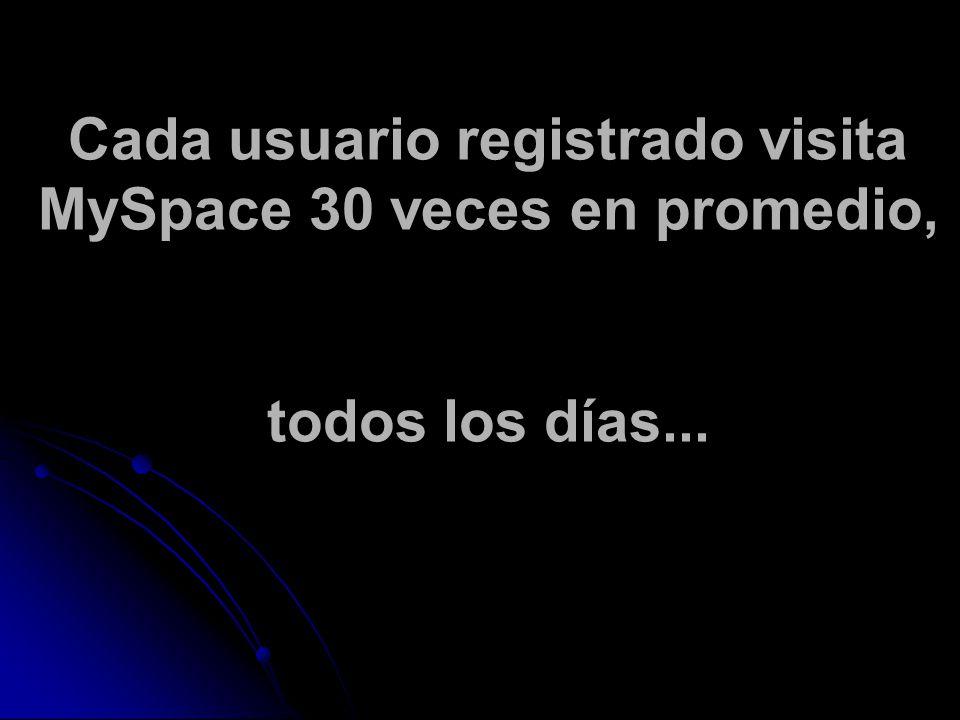 Cada usuario registrado visita MySpace 30 veces en promedio, todos los días...