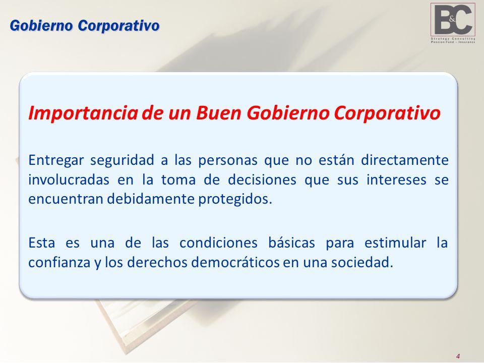 4 Gobierno Corporativo Importancia de un Buen Gobierno Corporativo Entregar seguridad a las personas que no están directamente involucradas en la toma de decisiones que sus intereses se encuentran debidamente protegidos.
