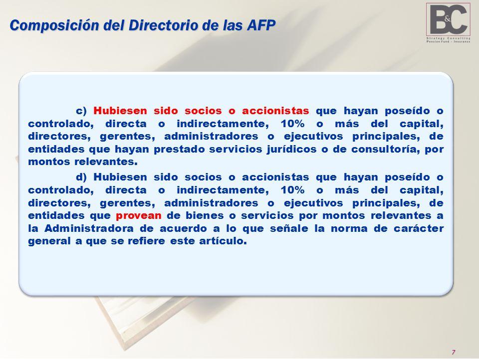 7 Composición del Directorio de las AFP c) Hubiesen sido socios o accionistas que hayan poseído o controlado, directa o indirectamente, 10% o más del capital, directores, gerentes, administradores o ejecutivos principales, de entidades que hayan prestado servicios jurídicos o de consultoría, por montos relevantes.