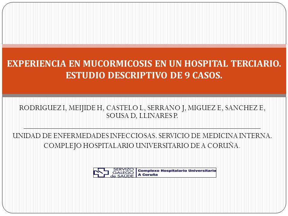 RODRIGUEZ I, MEIJIDE H, CASTELO L, SERRANO J, MIGUEZ E, SANCHEZ E, SOUSA D, LLINARES P.