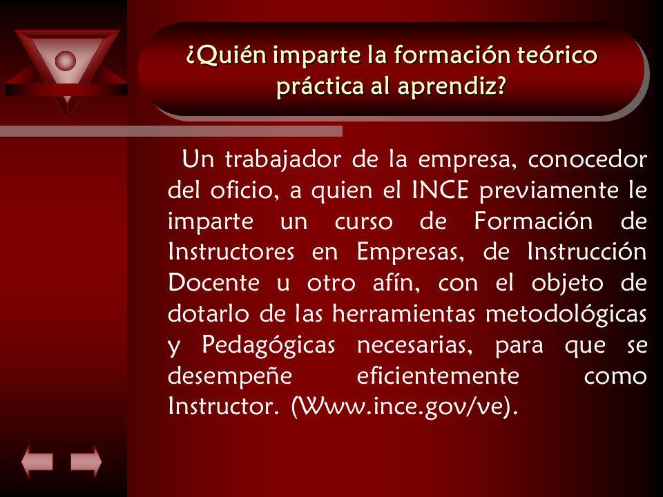 ¿Quién imparte la formación teórico práctica al aprendiz.