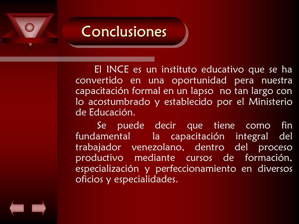 ConclusionesConclusiones El INCE es un instituto educativo que se ha convertido en una oportunidad pera nuestra capacitación formal en un lapso no tan largo con lo acostumbrado y establecido por el Ministerio de Educación.