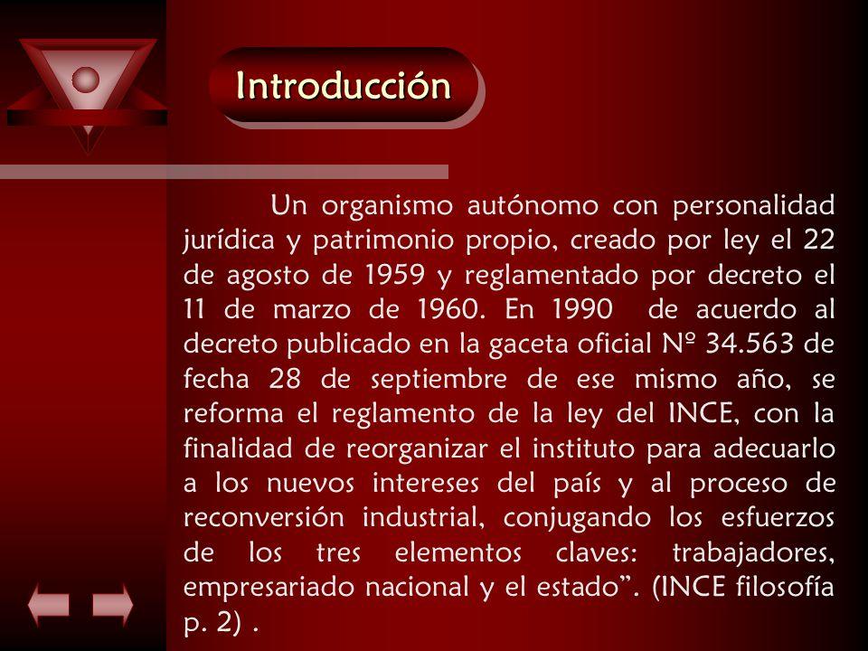 IntroducciónIntroducción Un organismo autónomo con personalidad jurídica y patrimonio propio, creado por ley el 22 de agosto de 1959 y reglamentado por decreto el 11 de marzo de 1960.