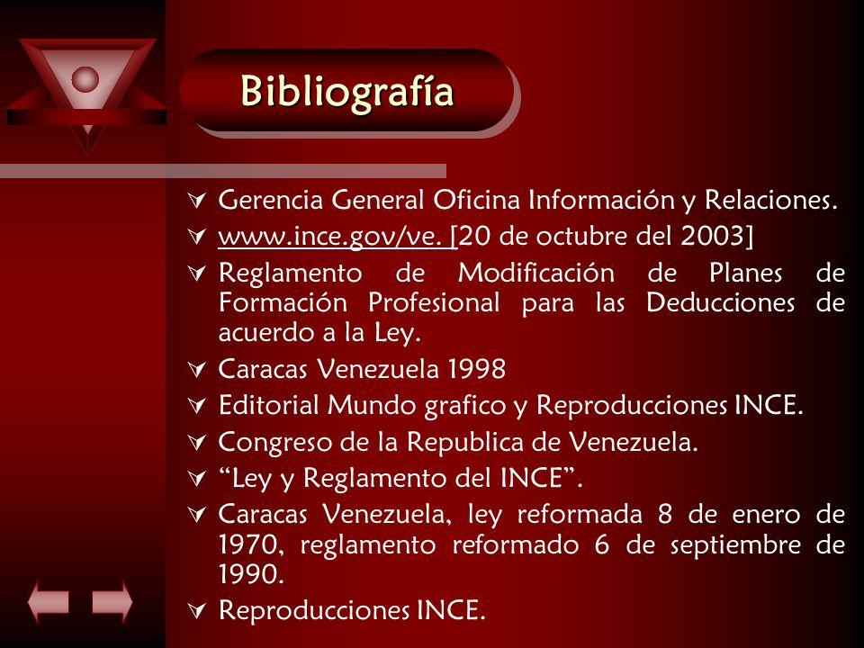 BibliografíaBibliografía  Gerencia General Oficina Información y Relaciones.