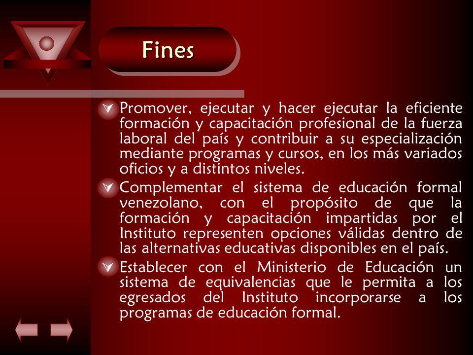 FinesFines  Promover, ejecutar y hacer ejecutar la eficiente formación y capacitación profesional de la fuerza laboral del país y contribuir a su especialización mediante programas y cursos, en los más variados oficios y a distintos niveles.