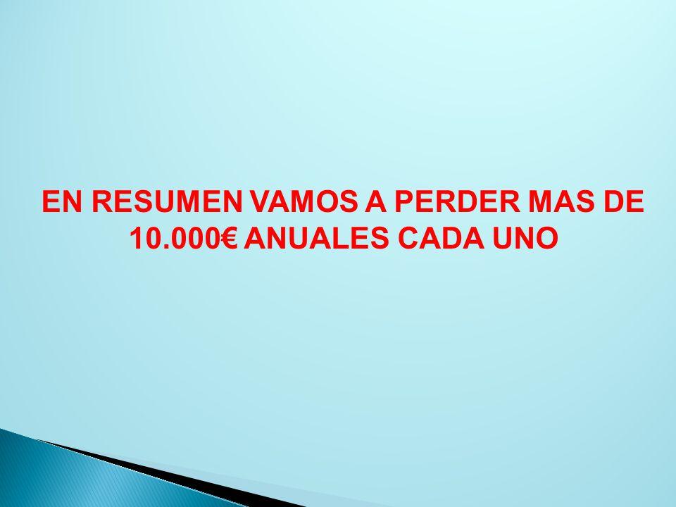 EN RESUMEN VAMOS A PERDER MAS DE 10.000€ ANUALES CADA UNO