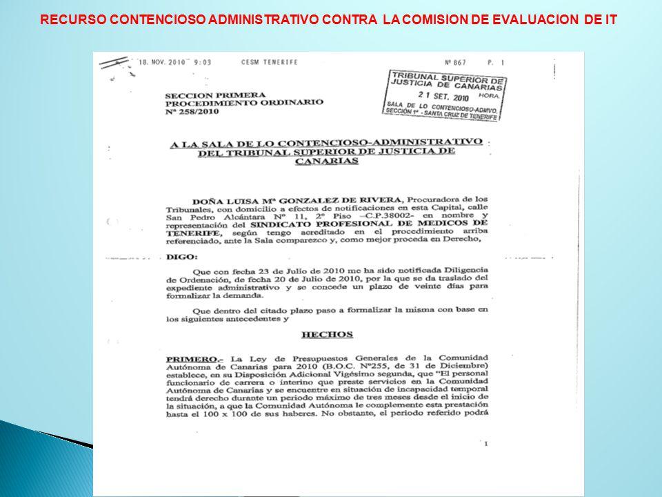 RECURSO CONTENCIOSO ADMINISTRATIVO CONTRA LA COMISION DE EVALUACION DE IT