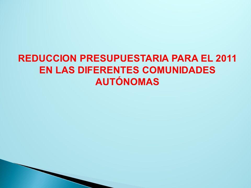 REDUCCION PRESUPUESTARIA PARA EL 2011 EN LAS DIFERENTES COMUNIDADES AUTÓNOMAS