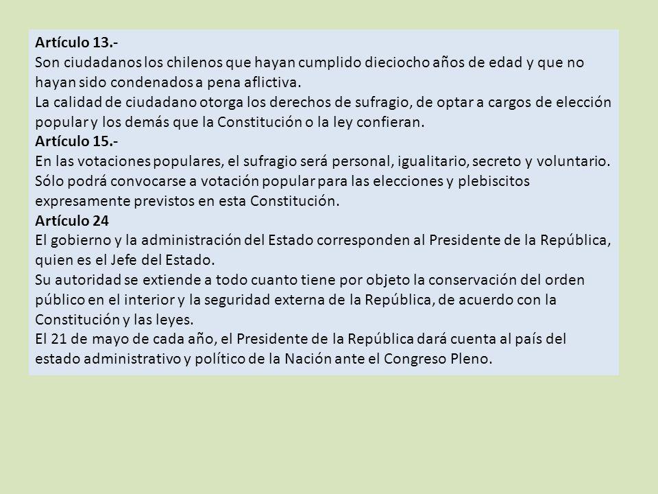 Artículo 13.- Son ciudadanos los chilenos que hayan cumplido dieciocho años de edad y que no hayan sido condenados a pena aflictiva.