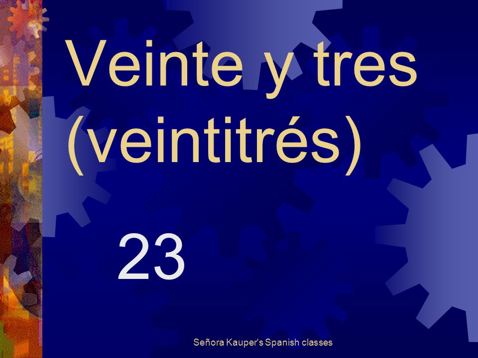 Veinte y dos (veintidós) 22 Señora Kauper s Spanish classes