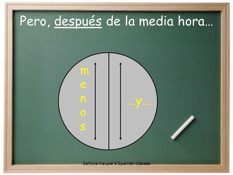  Para la media hora… …y media  Después de la hora… …y…  Para la cuarta hora… …y cuarto Señora Kauper s Spanish classes