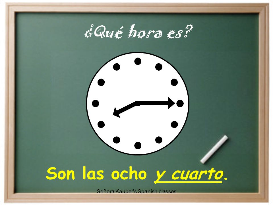 Son las cinco y diez. ¿Qué hora es Señora Kauper s Spanish classes