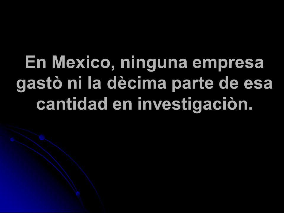 En Mexico, ninguna empresa gastò ni la dècima parte de esa cantidad en investigaciòn.