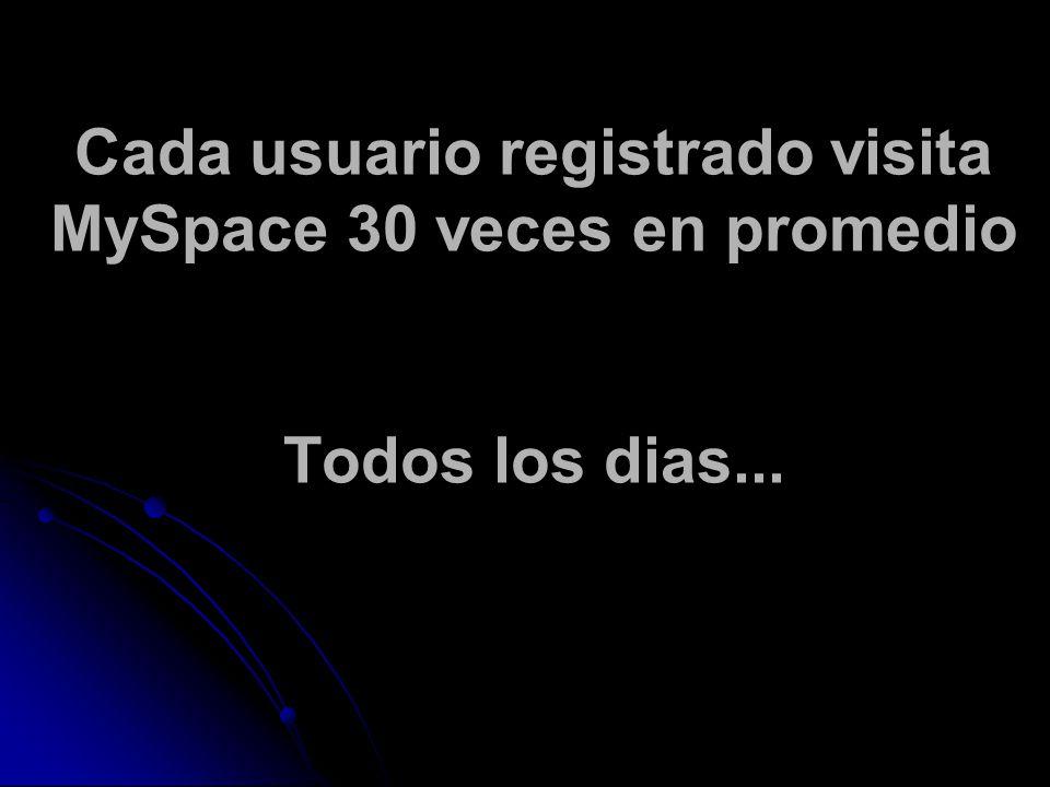 Cada usuario registrado visita MySpace 30 veces en promedio Todos los dias...