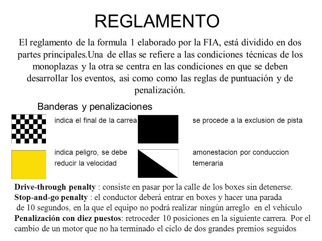 REGLAMENTO El reglamento de la formula 1 elaborado por la FIA, está dividido en dos partes principales.Una de ellas se refiere a las condiciones técnicas de los monoplazas y la otra se centra en las condiciones en que se deben desarrollar los eventos, asi como como las reglas de puntuación y de penalización.