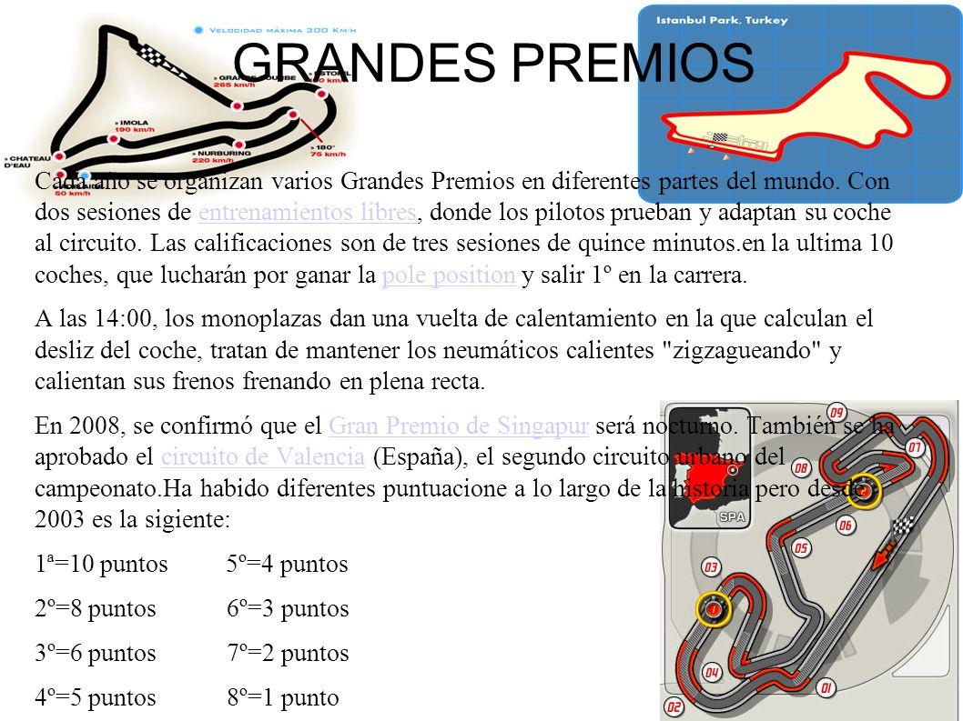 GRANDES PREMIOS Cada año se organizan varios Grandes Premios en diferentes partes del mundo.