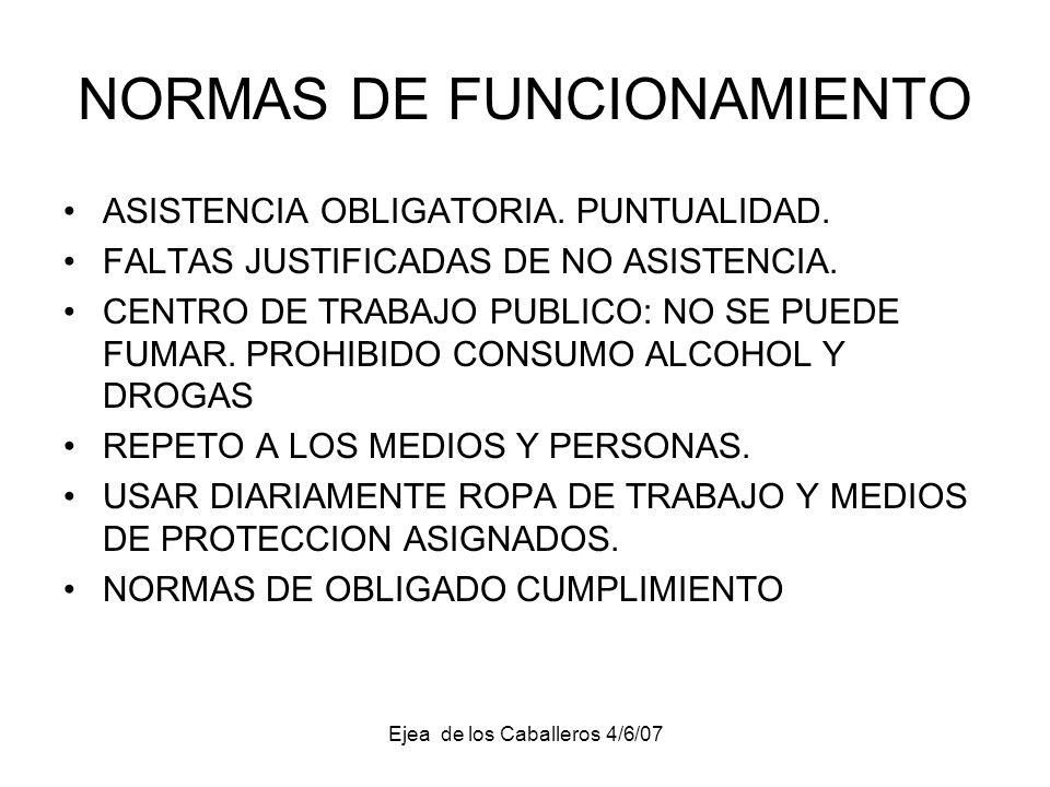 Ejea de los Caballeros 4/6/07 NORMAS DE FUNCIONAMIENTO ASISTENCIA OBLIGATORIA.