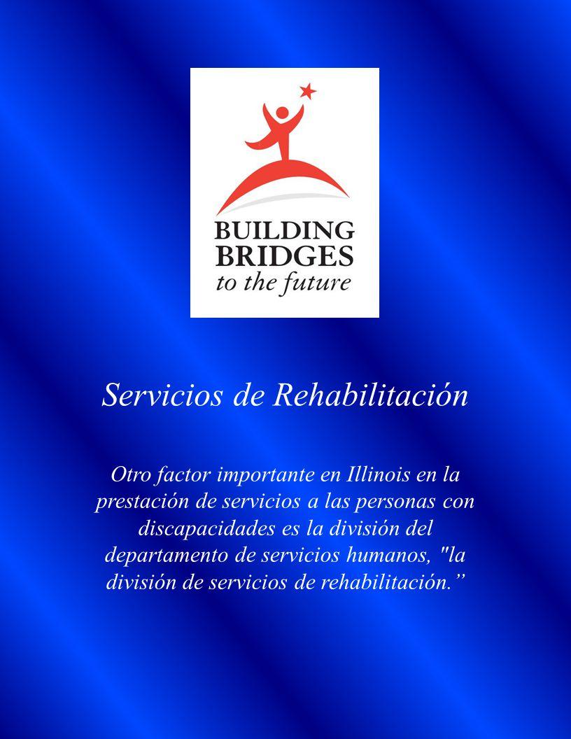 Servicios de Rehabilitación Otro factor importante en Illinois en la prestación de servicios a las personas con discapacidades es la división del departamento de servicios humanos, la división de servicios de rehabilitación.