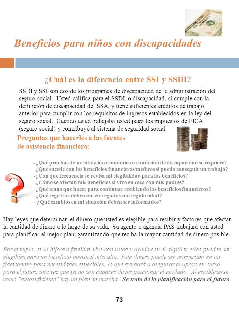 73 ¿Cuál es la diferencia entre SSI y SSDI.