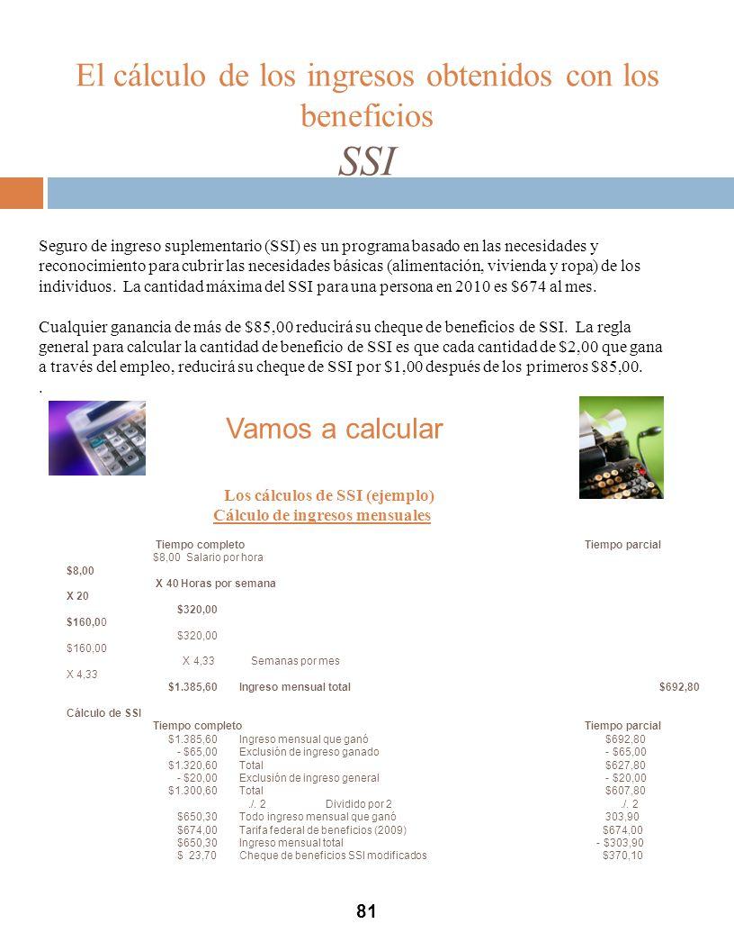 El cálculo de los ingresos obtenidos con los beneficios SSI 81 Seguro de ingreso suplementario (SSI) es un programa basado en las necesidades y reconocimiento para cubrir las necesidades básicas (alimentación, vivienda y ropa) de los individuos.