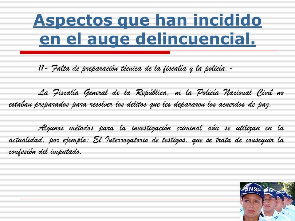 10- Fiscalía y Policía: Falta de claridad en la delimitación de funciones.- En el artículo 193 de la constitución, corresponde a la fiscalía general de la república, dirigir la investigación del delito, con la Policía Nacional Civil.