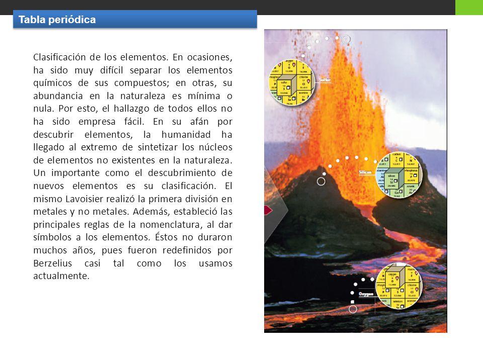 Clasificación de los elementos.