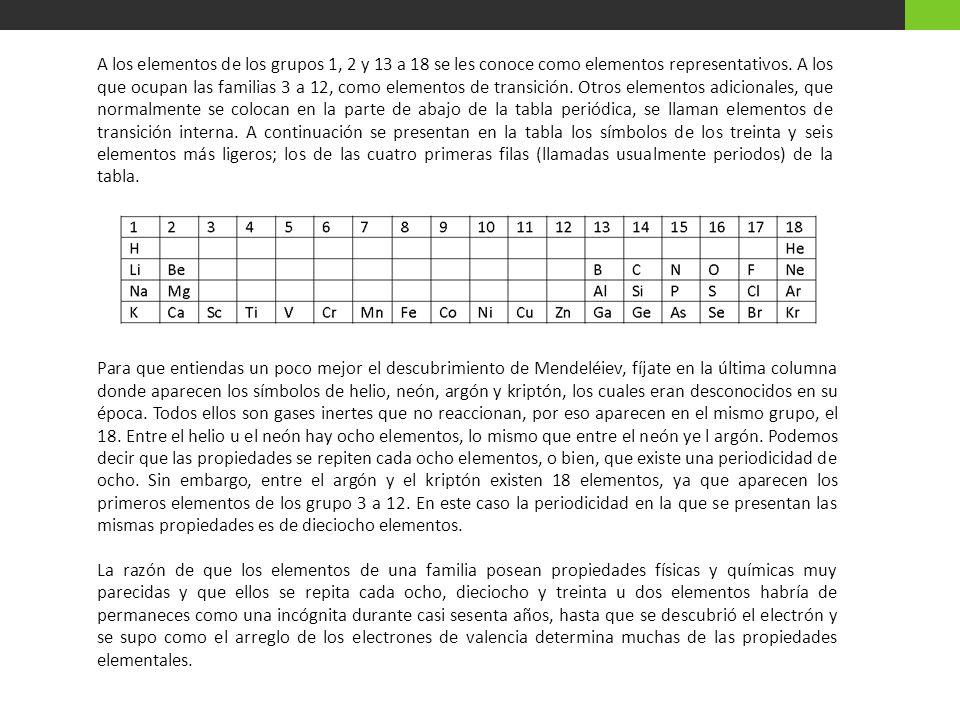A los elementos de los grupos 1, 2 y 13 a 18 se les conoce como elementos representativos.