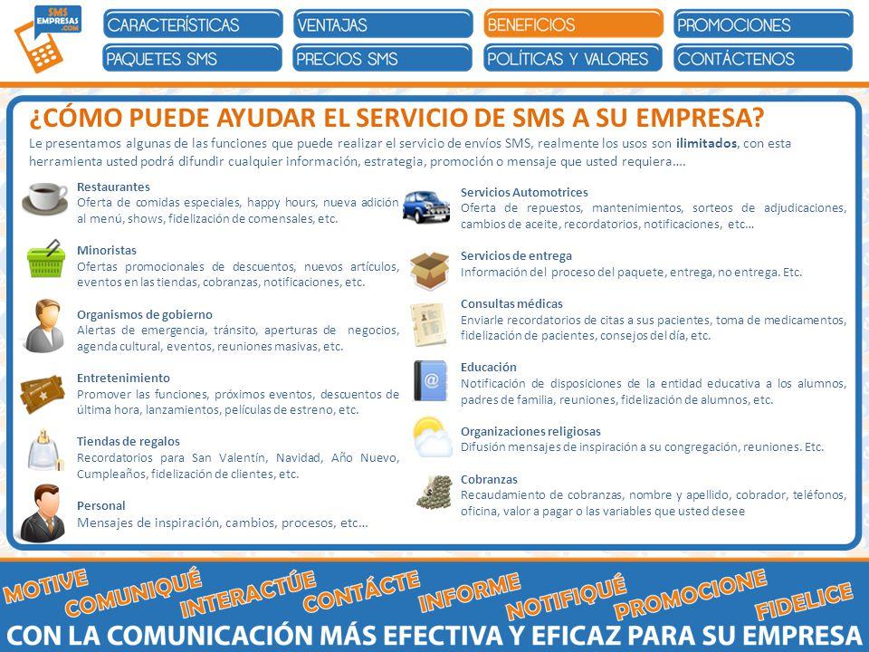 Restaurantes Oferta de comidas especiales, happy hours, nueva adición al menú, shows, fidelización de comensales, etc.