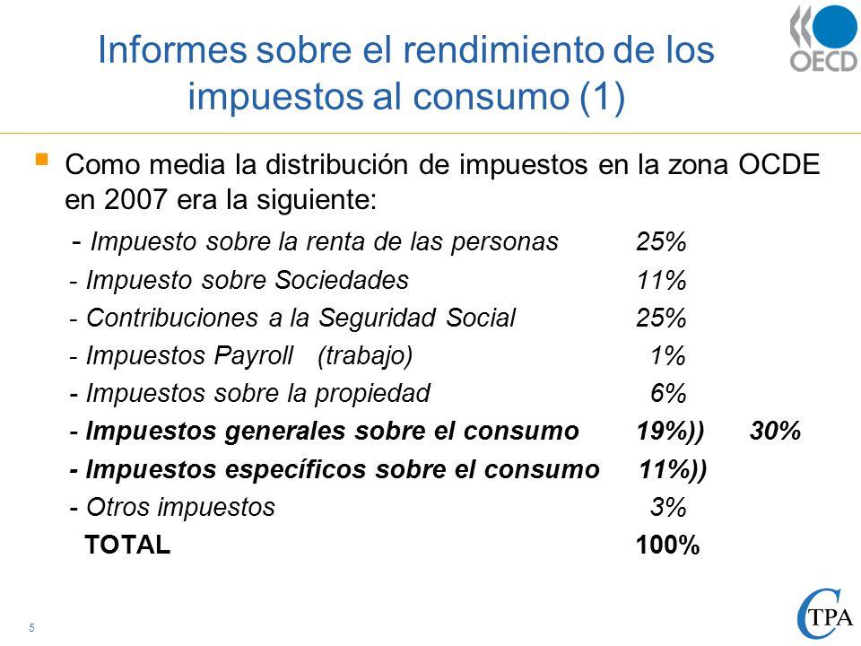 Informes sobre el rendimiento de los impuestos al consumo (1)  Como media la distribución de impuestos en la zona OCDE en 2007 era la siguiente: - Impuesto sobre la renta de las personas 25% - Impuesto sobre Sociedades 11% - Contribuciones a la Seguridad Social25% - Impuestos Payroll (trabajo) 1% - Impuestos sobre la propiedad 6% - Impuestos generales sobre el consumo19%)) 30% - Impuestos específicos sobre el consumo 11%)) - Otros impuestos 3% TOTAL 100% 5
