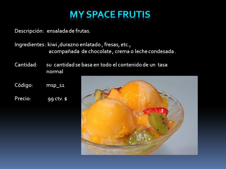 Descripción: ensalada de frutas.