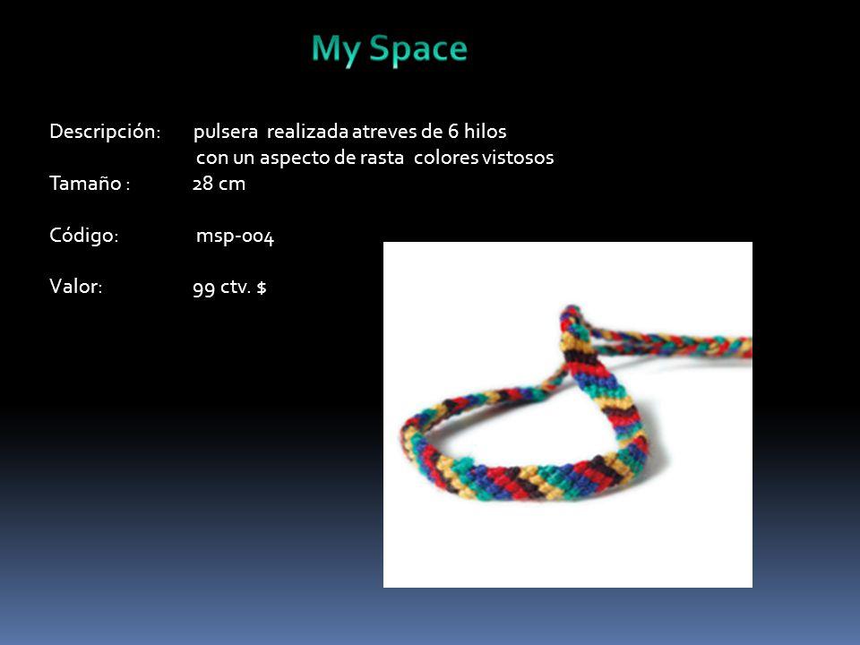 Descripción: pulsera realizada atreves de 6 hilos con un aspecto de rasta colores vistosos Tamaño : 28 cm Código: msp-004 Valor: 99 ctv.