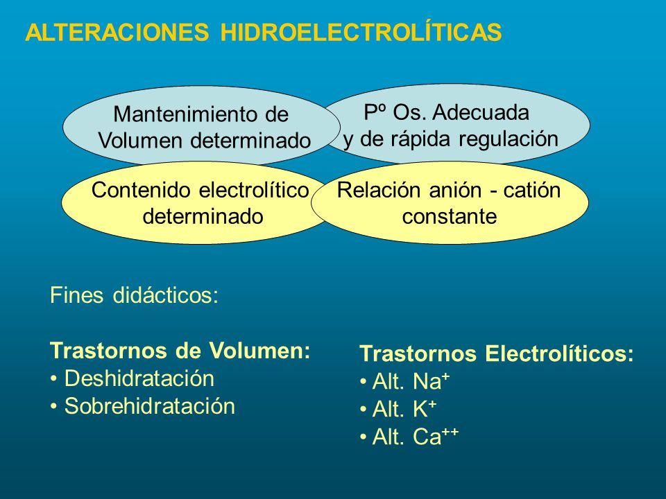 Pº Os. Adecuada y de rápida regulación Mantenimiento de Volumen determinado Contenido electrolítico determinado Relación anión - catión constante Fine