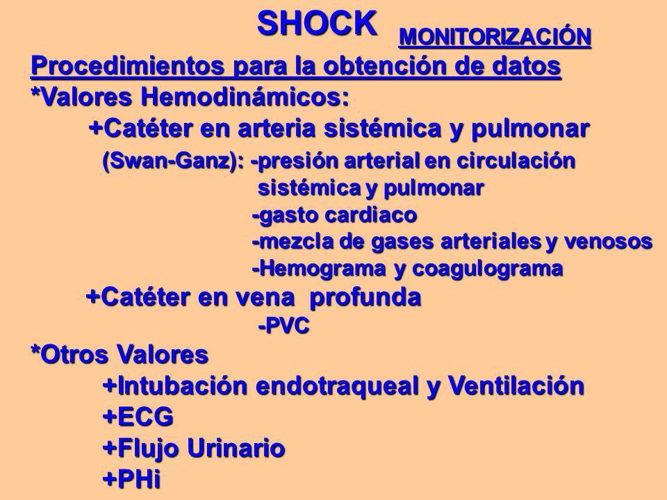 SHOCK MONITORIZACIÓN Procedimientos para la obtención de datos *Valores Hemodinámicos: +Catéter en arteria sistémica y pulmonar +Catéter en arteria sistémica y pulmonar (Swan-Ganz): -presión arterial en circulación (Swan-Ganz): -presión arterial en circulación sistémica y pulmonar sistémica y pulmonar -gasto cardiaco -gasto cardiaco -mezcla de gases arteriales y venosos -mezcla de gases arteriales y venosos -Hemograma y coagulograma -Hemograma y coagulograma +Catéter en vena profunda +Catéter en vena profunda -PVC -PVC *Otros Valores +Intubación endotraqueal y Ventilación +Intubación endotraqueal y Ventilación +ECG +ECG +Flujo Urinario +Flujo Urinario +PHi +PHi