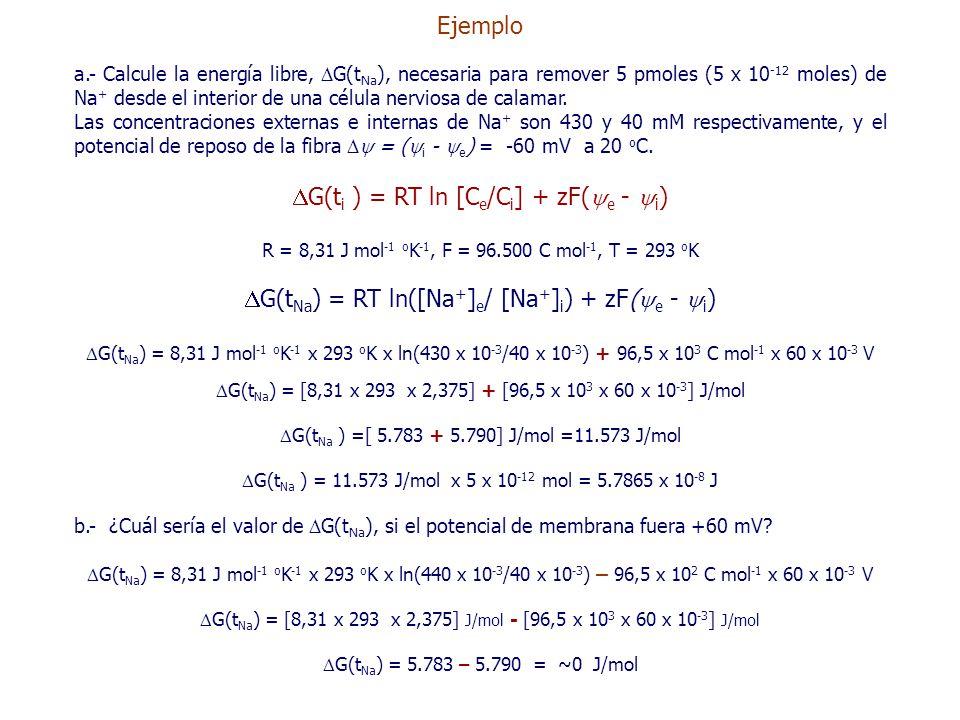 Ejemplo a.- Calcule la energía libre,  G(t Na ), necesaria para remover 5 pmoles (5 x 10 -12 moles) de Na + desde el interior de una célula nerviosa de calamar.