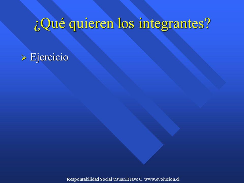 Responsabilidad Social ©Juan Bravo C. www.evolucion.cl ¿Qué quieren los integrantes  Ejercicio