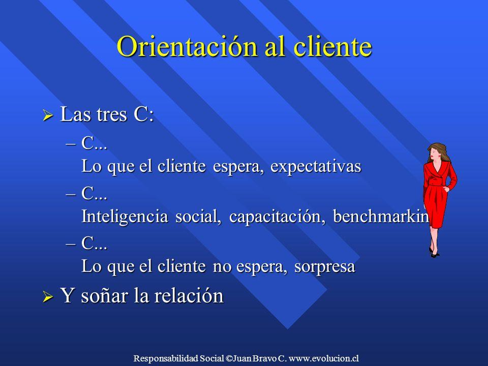 Responsabilidad Social ©Juan Bravo C. www.evolucion.cl Orientación al cliente  Las tres C: –C...