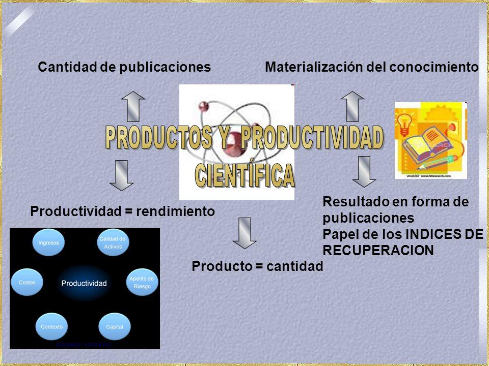 Producto = cantidad Productividad = rendimiento Cantidad de publicacionesMaterialización del conocimiento Resultado en forma de publicaciones Papel de los INDICES DE RECUPERACION