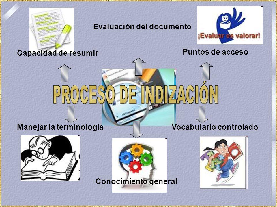 Manejar la terminología Evaluación del documento Puntos de acceso Conocimiento general Capacidad de resumir Vocabulario controlado