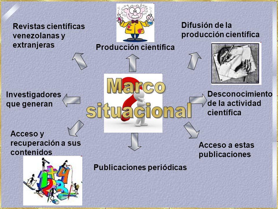 Publicaciones periódicas Acceso y recuperación a sus contenidos Investigadores que generan Revistas científicas venezolanas y extranjeras Producción científica Difusión de la producción científica Desconocimiento de la actividad científica Acceso a estas publicaciones