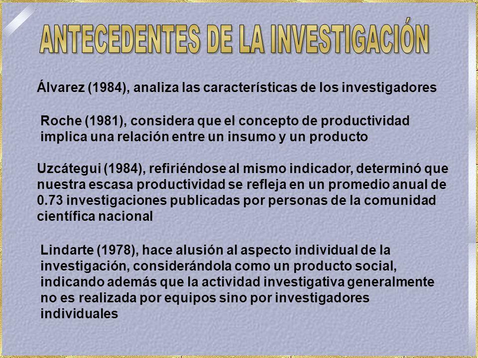 Álvarez (1984), analiza las características de los investigadores Roche (1981), considera que el concepto de productividad implica una relación entre un insumo y un producto Uzcátegui (1984), refiriéndose al mismo indicador, determinó que nuestra escasa productividad se refleja en un promedio anual de 0.73 investigaciones publicadas por personas de la comunidad científica nacional Lindarte (1978), hace alusión al aspecto individual de la investigación, considerándola como un producto social, indicando además que la actividad investigativa generalmente no es realizada por equipos sino por investigadores individuales
