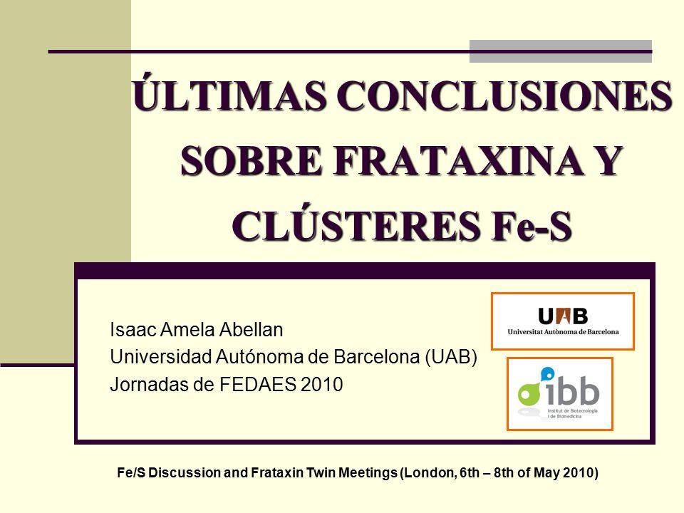 ÚLTIMAS CONCLUSIONES SOBRE FRATAXINA Y CLÚSTERES Fe-S Isaac Amela Abellan Universidad Autónoma de Barcelona (UAB) Jornadas de FEDAES 2010 Fe/S Discussion and Frataxin Twin Meetings (London, 6th – 8th of May 2010)