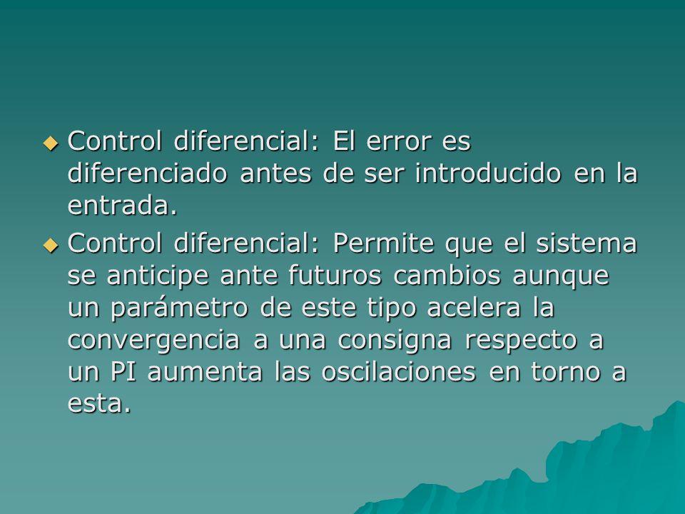  Control diferencial: El error es diferenciado antes de ser introducido en la entrada.