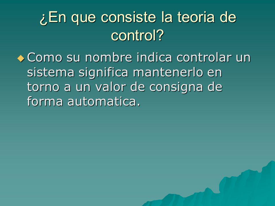¿En que consiste la teoria de control.